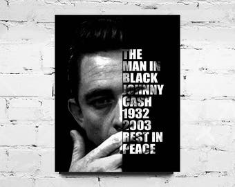 Johnny Cash Art Digital Print | Downloadable Collectibles | Gift Idea | Memorial Dedication | Johnny Cash Art