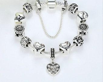 I Love You Charm Bracelet, Snake Chain Bracelet, 10 Beads, 1 Dangle Heart CZ, Barrel Clasp, DIY Jewelry