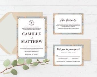 Vintage Travel Printable Wedding Invitation Suite, Destination, Map, Stamp Custom Printable Wedding Invite Set