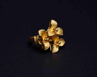 22K Yellow Gold Flower Ring - Triple Jasmine