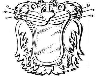 "Roaring Lion Mirror #501-mp   Woodworking / Craft Pattern   9"" x 9"""