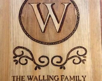 Rustic Wood Burned Family Monogram