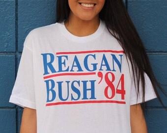 Reagan Bush '84, George Bush, Ronald Reagan, Political T-shirt, Politics, Republican, Democrat, Custom T-shirts