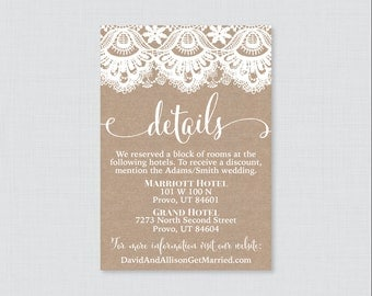 Printable OR Printed Wedding Details Cards - Burlap and Lace Wedding Details Inserts - Rustic Wedding Details Invitation Insert 0002