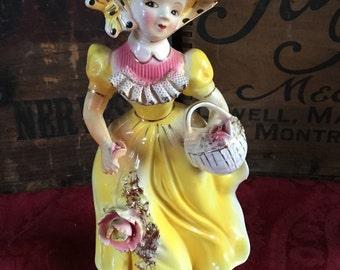 Vintage 1970's Japanese Victorian Girl in Bonnet Armart Figurine