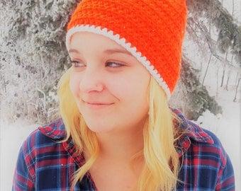 Bright Orange Crochet Toque/Beanie with Ears