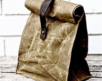 ETEE™ Lunch Bag | Organic Cotton, Petroleum Free, Waxed Canvas | Reclaimed Leather | Every Day Carry | Waxed Canvas Bag