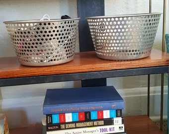 Industrial Metal Storage Basket-Lightweight-Perforated-Round - Footed