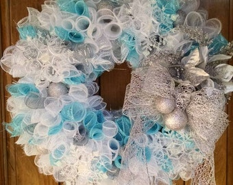 Winter White Silver Blue Fancy Snowflake Christmas Curly Spiral Deco Mesh Wreath