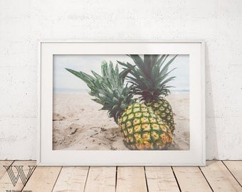 Pineapple Print, Pineapple Art, Tropical Art, Kitchen Art, Pineapple Printable, Minimalist, Fruit, Pineapple Poster, Photography Art