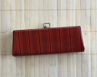 CLEARANCE: Vintage 1950s Eyeglasses Cases, Snap Style Closure, Red and Black Geometric Print
