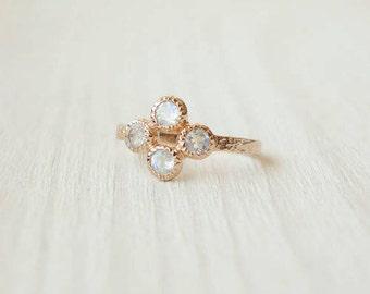 Moonstone Cluster Ring in Rose Gold