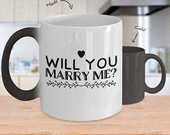 """Marry Me Mug, 11oz """" Will you marry me """" coffee mug, Color changing coffee mug Proposal mug"""