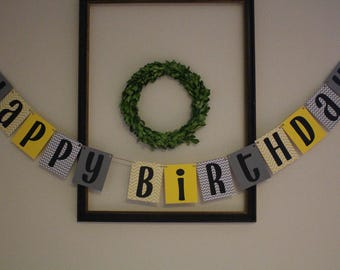 Happy Birthday Banner / Yellow & Grey / Chevron / Customizable / Party Decor / Birthday Party Decorations