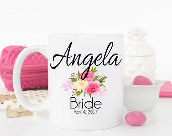Custom Bride Mug, Bride Mug, Gift for bride, Bridal Party Gift, Wedding Mug, Bridal Shower Gift, Coffee Mug, Floral mug, AAA_001