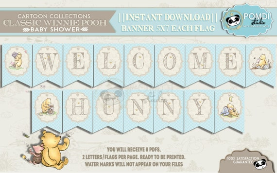 INSTANT DOWNLOAD|| Classic Winnie Pooh||Baby shower Banner||Baby boy||Welcome Hunny|| 8 PDFs|| Printable