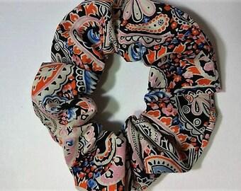 Orange Paisley Hair Scrunchie