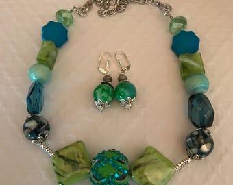 Sublime Necklace, Green Necklace, Blue Necklace, Chunky Necklace, Beaded Necklace, Choker Necklace, Mix Stone Necklace, Embellished Necklace