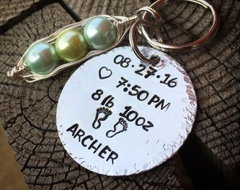 Family Birthstone Pea Pod Hand Stamped Personalized Keychain