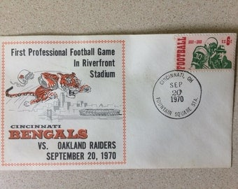 Cincinnati Bengals First Day Issue Cover of First Professional Football Game at Riverfront Stadium September 20, 1970 Postmarked from Cinc.