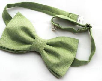 Bow tie, Men bow tie, green bow tie, linen bow tie, Wedding bow tie, soft olive green bow tie, solid green bow tie