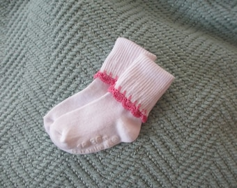 Baby girl socks - white with pink crochet trim- 18 to 36 months