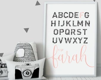 Custom name print ~ New baby gift ~ Baby shower gift ~ Personalised alphabet print ~ Nursery decor ~ A is for ~ Hoard Pretty Things