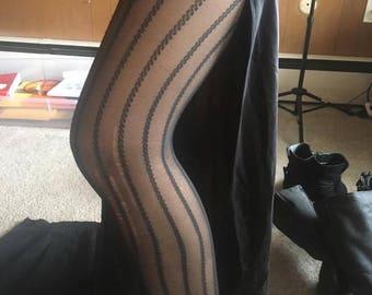 Vintage Pin Striped Tights Black