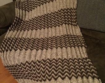 Crocheted Afghan in Brown Fisherman's Wool