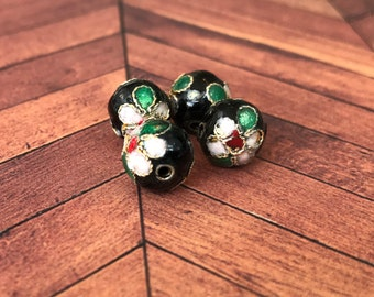 Qty4 10mm Handmade Cloisonne Beads, Black With White Flowers, Floral Beads, Enamel