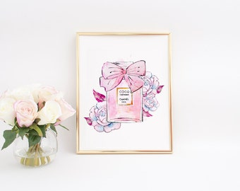 Coco Chanel Perfume,Watercolor Illustration,Chanel Art Print,Coco Chanel Art,Gold Foil Print,Floral Chanel Bottle,Fashion Print,Fashion Art