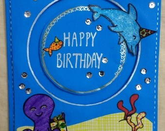 Blue Whale Birthday card