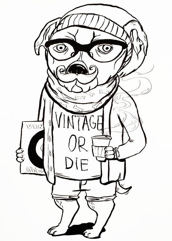 Hipster Dog - Giclée Art Print 8x10