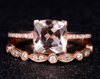 Rose Gold Engagement Ring Cushion Cut Morganite Diamond Half Eternity Wedding Band Antique Bridal Set Anniversary Gift For Her Women Simple
