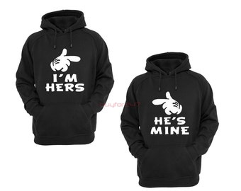 I'm Hers He's Mine Couple Hoodies Matching Hoodies For Couples Couple Matching Sweatshirts Cute Couple Hoodies
