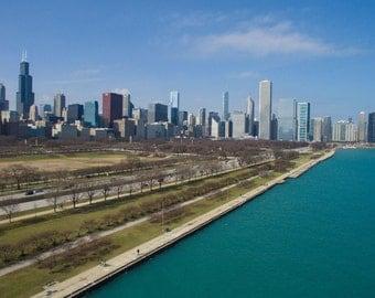 Chicago Skyline Aerial Photography Print