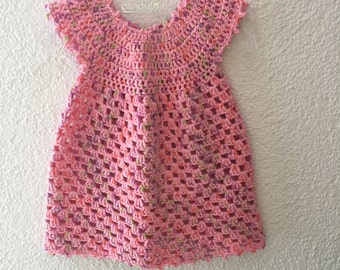 PDF crochet pattern, pink girl dress gr.62/68,74/80,86/92