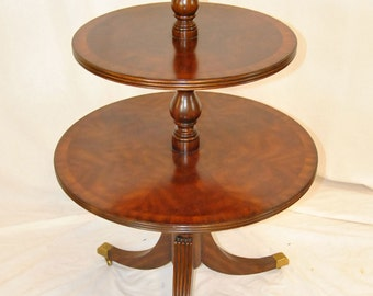 Maitland Smith Mahogany Three Tiered Dumb Waiter Table