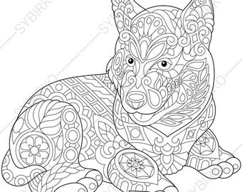 siberian husky dog coloring page for national pet day greeting cards animal coloring book