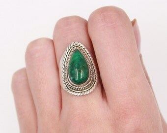 Green Chrysocolle & 925 Sterling Silver Ring S. US 7.25 / FR 56