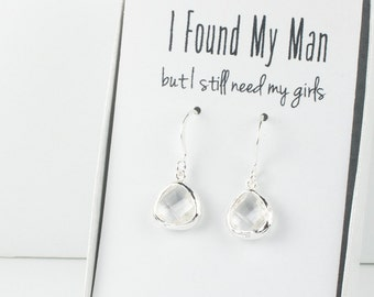Tiny Crystal Silver Earrings, April Birthstone Earrings, Clear Silver Earrings, Bridesmaid Earrings, Crystal Wedding Jewelry