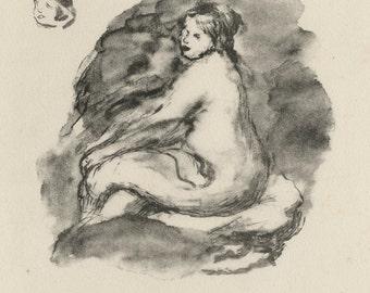 "PIERRE AUGUSTE RENOIR (French,1841-1919), ""Etude de Femme Nue, Assise (2nd state)"", ca. 1904, original lithograph"