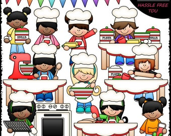 Baking Christmas Cut-Out Cookies Clip Art and B&W Set