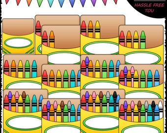 Counting Crayons (0-12) Clip Art and B&W Set
