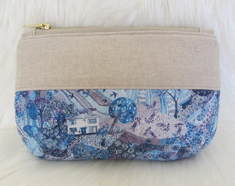 Liberty Print + Linen pouch | Liberty London Royal Oakhouse | makeup pouch | sewing kit pouch | pencil case | utility pouch