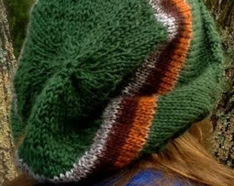 Green Striped Slouchy Hat