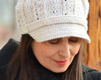 Crochet newsboy hat, women newsboy cap, ivory crochet hat women, winter hat wool, warm hat, winter beret women, knit hats women gift