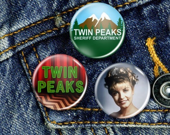 Twin Peaks David Lynch Laura Palmer Cult TV Pin Button Badge Set 3 x 25mm Badges or Individual