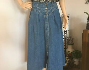 60s 70s Button-up Denim Maxi Skirt Hippie Boho Bohemian Festival Western S M Small Medium