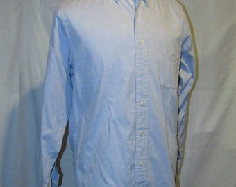 Men's Brooks Brothers Dress Shirt Blue Button Collar 15 33 100% Cotton